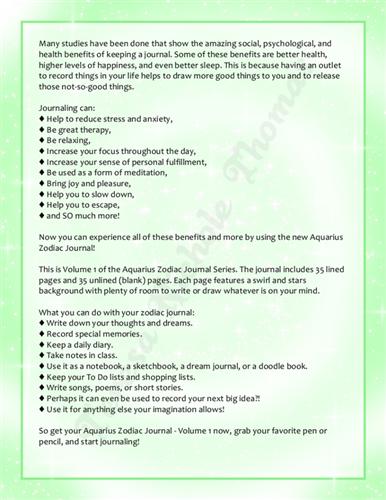 Aquarius Zodiac Journal Volume 1 Pic 05