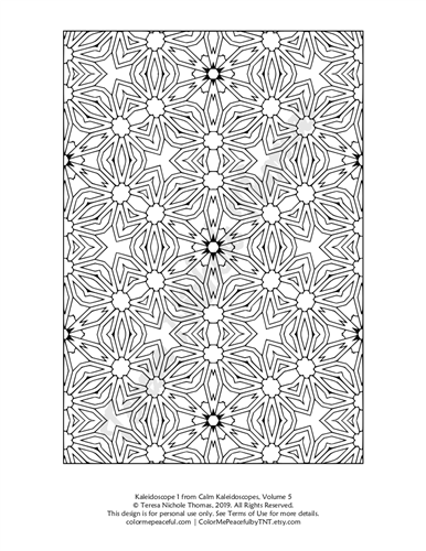 Calm Kaleidoscopes Adult Coloring Book Volume 5 Pic 01
