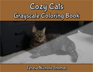 Cozy Cats Grayscale Coloring Book Cover