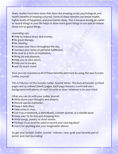 Scorpio Zodiac Journal Volume 1 Pic 05