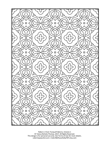 Tranquil Patterns Adult Coloring Book Volume 01 Pic 01