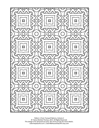 Tranquil Patterns Adult Coloring Book Volume 02 Pic 01