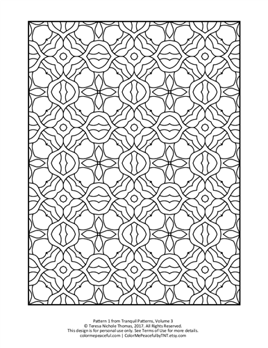 Tranquil Patterns Adult Coloring Book Volume 03 Pic 01