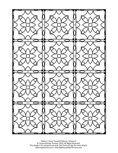 Tranquil Patterns Adult Coloring Book Volume 5 Pic 01