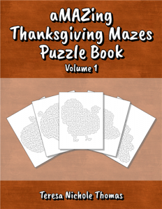 aMAZing Thanksgiving Mazes Puzzle Book Volume 1 Cover